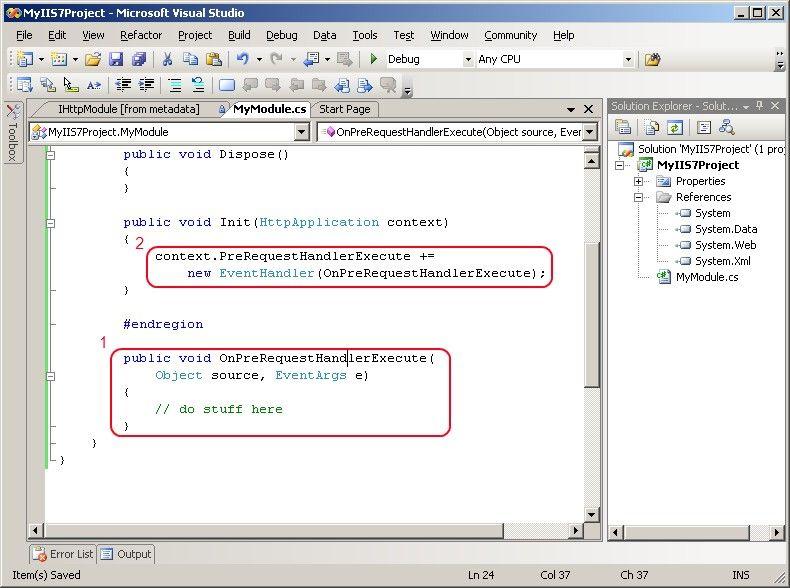 Implement IHttpModule.Init() in Visual Studio