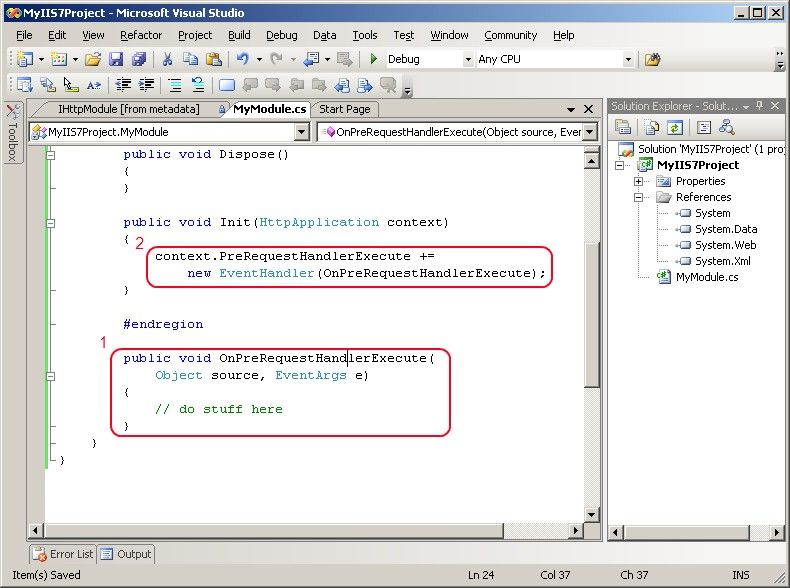 Implement IHttpModule.Init() in Visual Studio