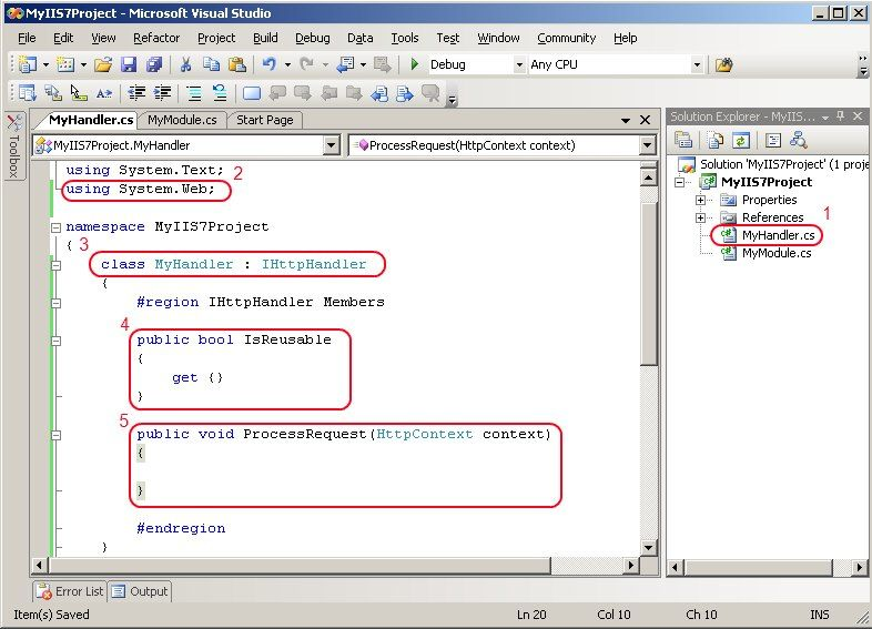 Implement the IHttpHandler interface in Visual Studio