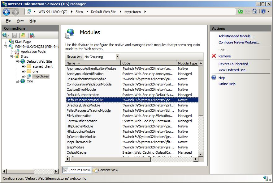 Modules List in IIS Manager