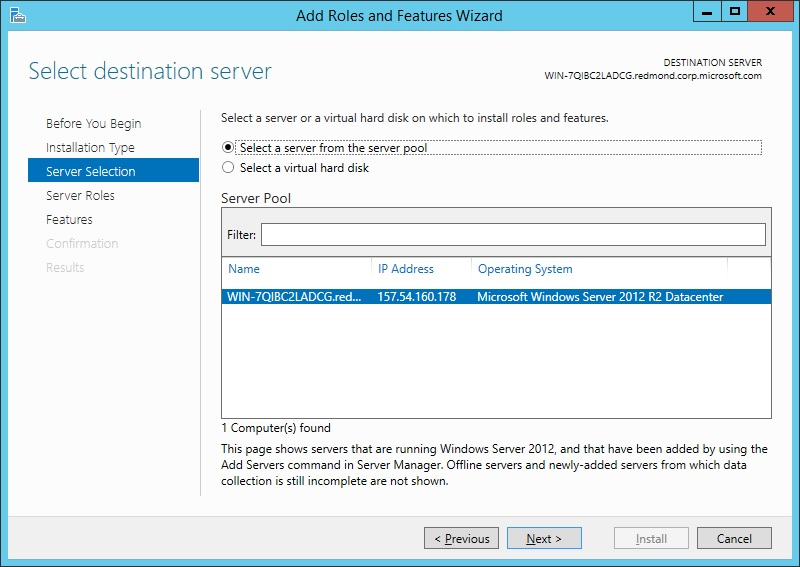 Server Select page